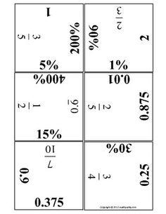 BIG HUGE PUZZLE Converting Fractions, Decimals and Percents