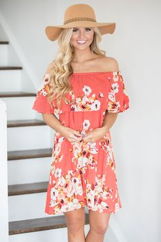 Colorful Coastline Floral Dress Coral - The Pink Lily