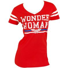 Wonder Woman Varsity Tee Shirt ($22) ❤ liked on Polyvore featuring tops, t-shirts, stripe tee, red t shirt, red top, striped t shirt and stripe t shirt
