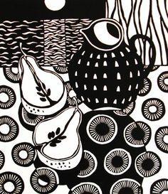 ✦ 'apple and jug' - jane walker - linocut print Linocut Prints, Art Prints, Block Prints, Lino Art, Poster Art, Linoprint, Tampons, Wood Engraving, Art And Illustration