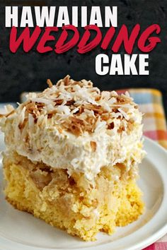 This Hawaiian wedding cake recipe is simple and easy! It's fruity and sweet with crushed pineapple and topped with a whipped cream and cream cheese topping. Perfect for a summer luau or party! #cake #dessert #dessertrecipe #dessertmasters #desserttable #hawaiian #hawaiianfood #luau #coconut #cakemix #recipeideas #recipeoftheday #recipe #recipeoftheweek #recipes_to_go #refreshing