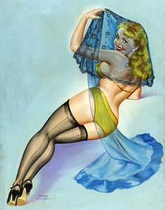 The veil adds an interest depth to this alluring vintage pinup painting. #vintage #pinup #girl #art