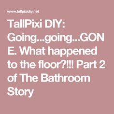 TallPixi DIY: Going...going...GONE. What happened to the floor?!!!  Part 2 of The Bathroom Story