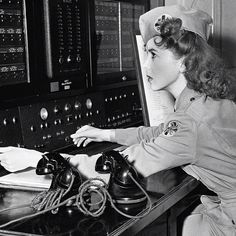 Actress Ida Lupino at her home-based telephone switch in Brentwood. Ida was a lieutenant in the Womens Ambulance and Defense Corps. From her house, where she had a sweeping view of Los Angeles she could reach every ambulance in the city from her switchboard. www.worldwar2tours.com