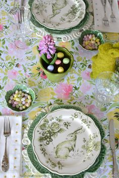 Hopping Down the Bunny Trail Table + Spring Blooming Centerpiece | homeiswheretheboatis.net #Easter #tablescape