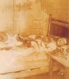 Police photograph of the murder scene of Mary Jane Kelly, the 5th canonical victim of Jack the Ripper.