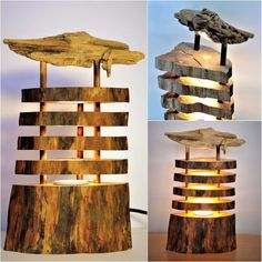 Seaside Driftwood Log Lamp - Table Lamps - Beautiful lamp made with a log topped with a beautiful Driftwood. Led light, so no heat and costs almost nothing electricity…Looking for a beautiful lamp that exudes nature, stop your search, this is the one need you! Beautiful for home or for gift giving. Height: 12 inches      Buy...