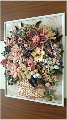 Woven Paper Basket with Quilled Flowers (Dahlias, bittersweet nightshades , clover, berries...) ~ November 2017, handmade by Eliane Tanassi ♧ The Quilling Fairies♧, first quilling artists in Lebanon! #thequillingfairies #elianetanassi #quillinglebanon #lebanesedesigners #quilling #paperquilling #quillingflowers #quillingart #paperflowers #papercrafts #quillingcreations #Квиллинг