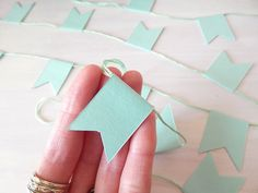 Mint Green Mini Flag Garland - Nursery Bunting - Desk Bunting - Photo Prop