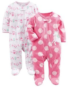 Hudson Baby Unisex Baby Fleece Sleep and Play Gray Pink Snowflake 2-Pack
