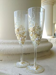 Wedding champagne glasses in ivory and white, hand decorated with fabric roses and pearls - set of 2 on Etsy, $58.00