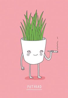 Pothead by Charly Clements [Illustration - Funny - Weed] Arte Dope, Dope Art, Cannabis, Wal Art, Trippy Painting, Stoner Art, Small Canvas Art, Funny Illustration, Art Sketchbook