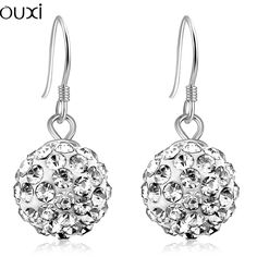 OUXI Fashion Jewelry Stud Earrings for Women 3 Color Romantic Statement Crystal Brand Ball Jewelry Anti-Allergy Accessories