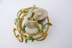 Krementz Art Nouveau 14k Gold Enamel Enameled Iris Flower Pin Brooch C 1910 | eBay