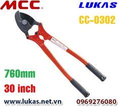 Thông số kỹ thuật của kìm cắt dây cáp xoắn 760mm - 30 inch, CC-0302.  Chiều dài: 760mm - 30 inch. Trọng lượng: 4.1kg. Lưỡi cắt dự phòng có thể mua thêm: CCE0302. Tải trong cắt lớn nhất: 50mm hay 2 inch.