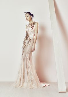 Peach Lace & Metal leafs mermaid gown from BASIL SODA SS 2015