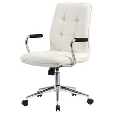 Boss Modern Office Chair with Chrome Arms, White Furniture Chairs For Rent, Old Chairs, Chairs For Sale, Desk Chairs, Office Chairs, White Chairs, Dining Chairs, Brown Leather Recliner Chair, Leather Chairs