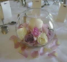 table centerpiece in fishbowl vase