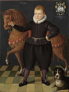 Unknown artist, Portrait of an eight-year-old boy of the Blauhulck-family with a horse and a dog, 1618