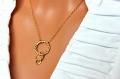 Triple Ring Gold Pendant Simple Everyday by AuroraJewelryBox