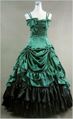 Blackish Green Gothic Victorian Ball Gown Punk Satin by procosplay, $95.00