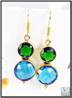 Crystal Blue Topaz Cz Gems Stones 18k Gold Plated Earring L 1.5in Gpemul-5221 http://www.riyogems.com