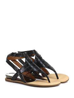 GUESS - Sandalo basso - Donna - Sandalo basso in eco pelle lavorata con cinturino ad incrocio e suola in gomma. Tacco 25. - BLACK - € 160.00