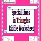 This is an 18 question riddle worksheet that practices the properties of medians, altitudes and perpendicular bisectors in triangles.  For each pro...