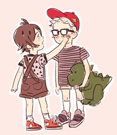 Tsukiyama Haikyuu, Haikyuu Anime, Tsukishima X Yamaguchi, Tsukkiyama, Haikyuu Ships, Sanrio, Cute Boys, Chibi, Family Guy