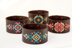 DIY Cross Stitch Kit  Leather Cuff with par RedGateStitchery
