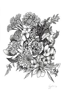 Floral flower drawing black and white illustration line flower ink drawing detailed flowers art print 8 8x10 mightylinksfo