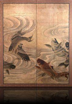 Galerie Minet Merenda | Art du Japon | Byobu Japonais Antique | Paravent à 2 feuilles Carpes et courants : XVIIIème siècle