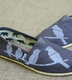 Grey Printed Toms Shoes - Birds on a Wire  | These custom Toms shoes are a Tweet-worthy find. They are craf... | Shoes