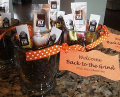"""Back to school gift for teacher's. Welcome them """"Back to the Grind"""" with coffee beans, instant hot/cold coffee and a tag! Also - hot chocolate/tea for some? Back To School Gifts For Teachers, Diy Back To School, School Staff, School Teacher, Welcome Back Teacher, Welcome Back Gifts, Teacher Gift Baskets, Teacher Treats, Teacher Appreciation Gifts"""