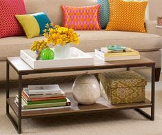 Coffee Table Chic - Here are my go-to items for styling a coffee table: a stack of two to four coffee table books, a decorative box (or a smaller pair of boxes, stacked), a decorative object such as a shell or Moroccan star, and a tray. Any three of the four look great (bigger tables can handle more stuff). Add a small bouquet of flowers for extra credit. Voila -- instant chic!  -- Elaine Griffin