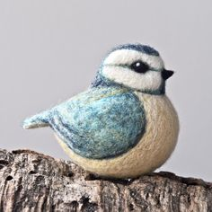 needle felted blue tit sculpture - fibre art - by TheLadyMoth on Etsy