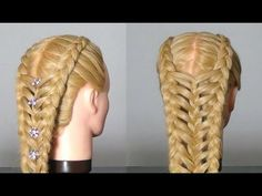Double dutch braids feathered and then braided together in the middle