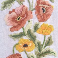 Vintage Poppies Crewel Embroidery Needlework Tapestry Wall Hanging by lookonmytreasures on Etsy