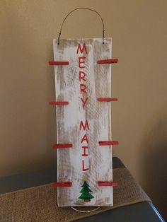 Merry Mail Christmas Card Holder by TheCraftyNestCo on Etsy