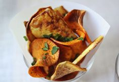 Homemade sweet potato chips from A Beautiful Mess blog.