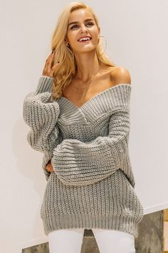 Off The Shoulder Knitted Sweater #stylishoutfit #casualdress