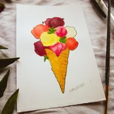ORIGINAL Ice-cream in a Waffle Cone Acrylic Painting   Etsy Waffle Cones, Gel Pens, Waffles, Ice Cream, Stickers, The Originals, Shop, Handmade, Painting