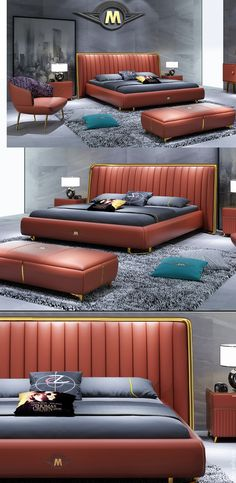 Elegant brown leather couple bed, double bed – modern luxury bedroom furniture … - Away Suitcase Modern Luxury Bedroom, Luxury Bedroom Furniture, Contemporary Bedroom, Bed Furniture, Luxurious Bedrooms, Luxury Bedding, Bedroom Bed Design, Modern Bedroom Design, Bedroom Colors