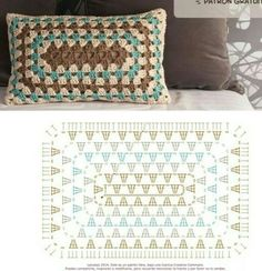 Transcendent Crochet a Solid Granny Square Ideas. Inconceivable Crochet a Solid Granny Square Ideas. Crochet Cushion Cover, Crochet Pillow Pattern, Crochet Motifs, Crochet Cushions, Crochet Blocks, Granny Square Crochet Pattern, Crochet Diagram, Crochet Chart, Crochet Squares