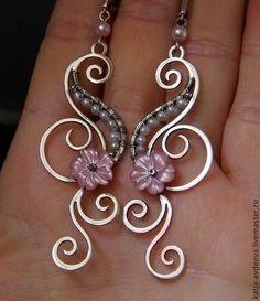Купить Серебряные серьги НЕЖНОСТЬ с перламутром и жемчугом - бледно-розовый, розовый, wire wrap