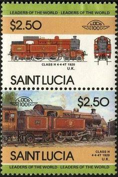 Stamp: Class H, 1920, U.K. (Saint Lucia) (Locomotives) Mi:LC 726-727,Sn:LC 718,Yt:LC 718-719