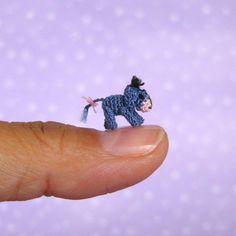 knitwhit: The smallest Eeyore ever! (by MUFFA Miniatures) Omg, it's a tiny Eeyore! Crochet Teddy, Crochet Toys, Disney Poster, Winnie The Pooh Friends, Mini Things, Pooh Bear, Tiny Treasures, Crochet Animals, Needle Felting