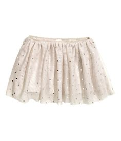 Light beige . Skirt in soft tulle with printed metallic dots and an elasticized waistband with scalloped trim. Jersey lining.