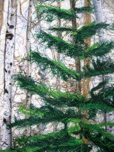 Fiber Art Quilt Woodland Winter Pine Art Quilt by SallyManke