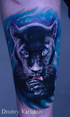 Black Panther by Dmitry Varlakov Cover Up Tattoos, Love Tattoos, Beautiful Tattoos, Tattoos For Women, Tattoos For Guys, Jaguar Tattoo, Wolf Tattoo Design, Tattoo Designs, Black Panther Tattoo